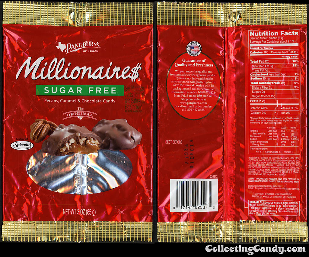 Pangburn's of Texas - Millionaires Sugar Free - 3oz multi-pack package wrapper - 2013