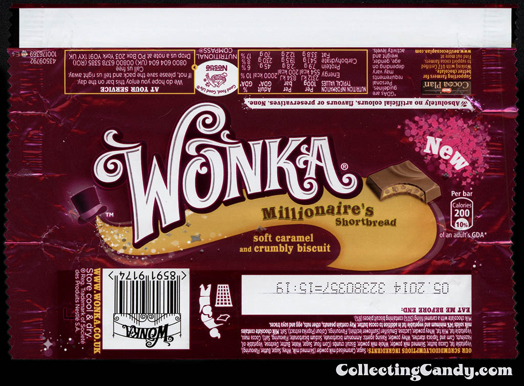 UK - Nestle - Wonka Millionaire's Shortbread - New - chocolate candy bar wrapper - 2013