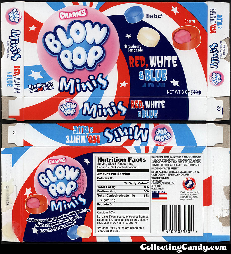 Tootsie Roll Industries - Charms Blow Pop Minis - Red White & Blue - 3 oz candy box - Summer 2013