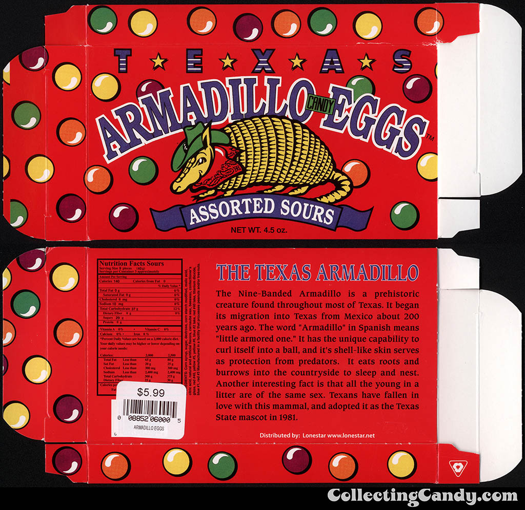 Lonestar - Texas Armadillo Eggs - 4.5oz souvenir candy box - July 2014