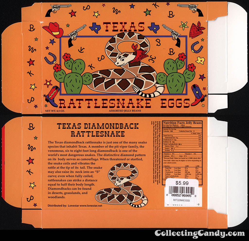 Lonestar - Texas Rattlesnake Eggs - 4.5oz souvenir candy box - July 2014
