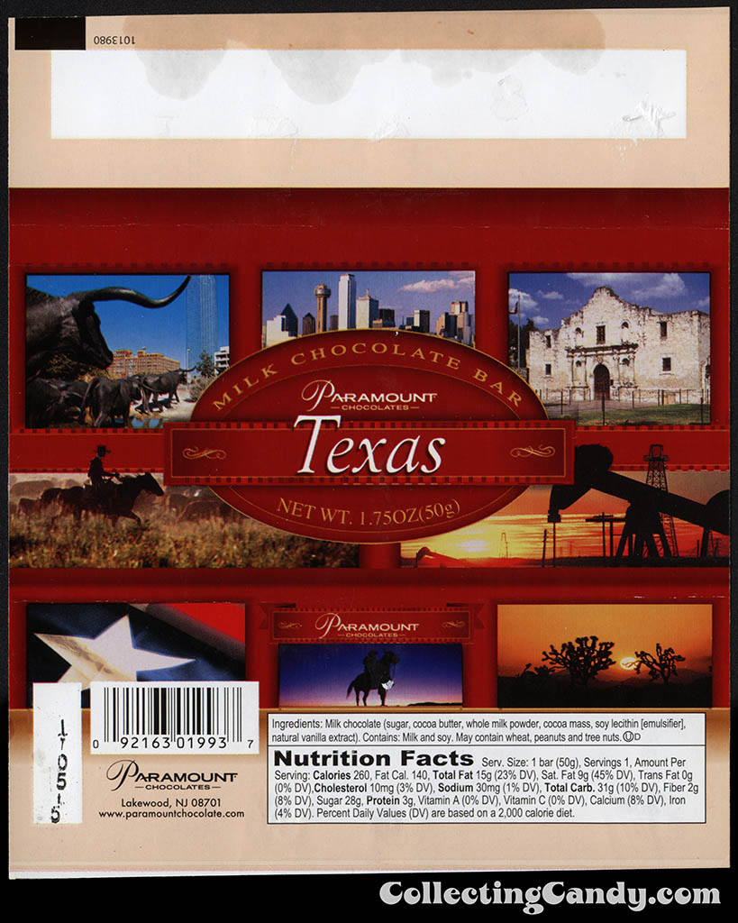 Paramount Chocolates - Texas - 1.75oz souvenir milk chocolate bar wrapper - July 2014