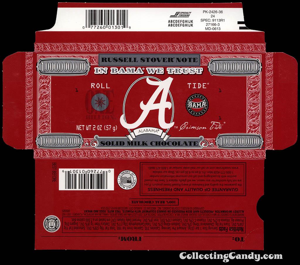 Russell Stover - Collegiate 2oz Chocolate Bar Note box - Alabama Crimson Tide - 2013