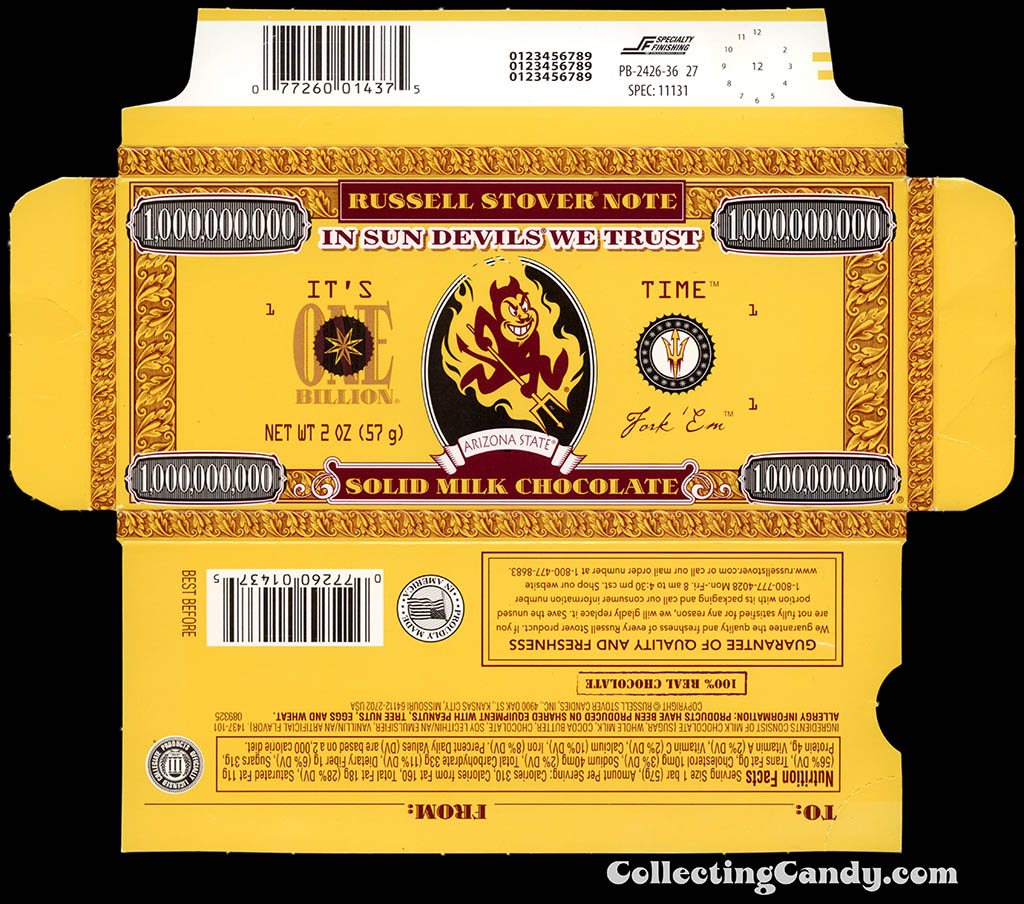 Russell Stover - Collegiate 2oz Chocolate Bar Note box - Arizona State Sun Devils - 2013