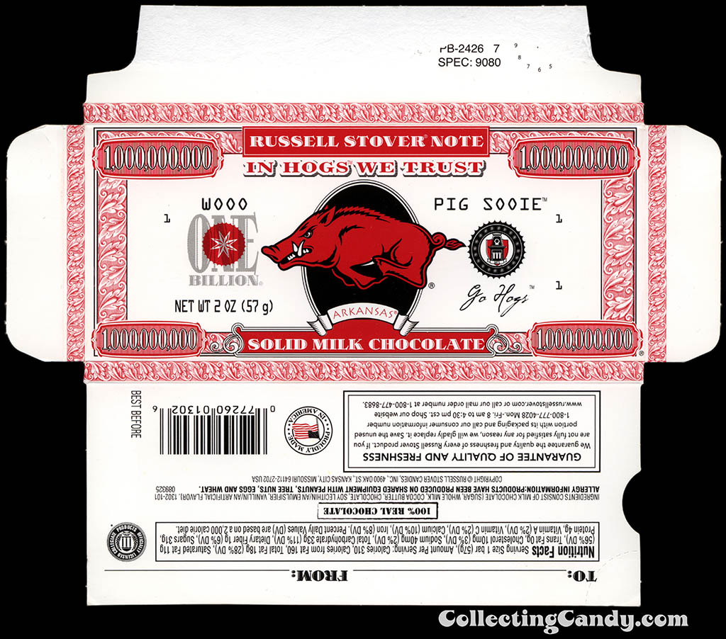 Russell Stover - Collegiate 2oz Chocolate Bar Note box - Arkansas Razorbacks - 2013
