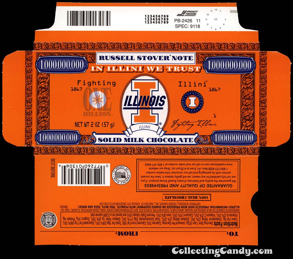 Russell Stover - Collegiate 2oz Chocolate Bar Note box - Illinois Fighting Illini - 2013