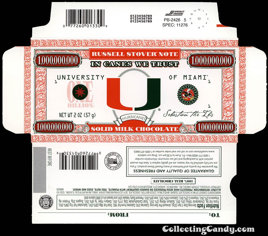Russell Stover - Collegiate 2oz Chocolate Bar Note box - Miami Hurricanes - 2013