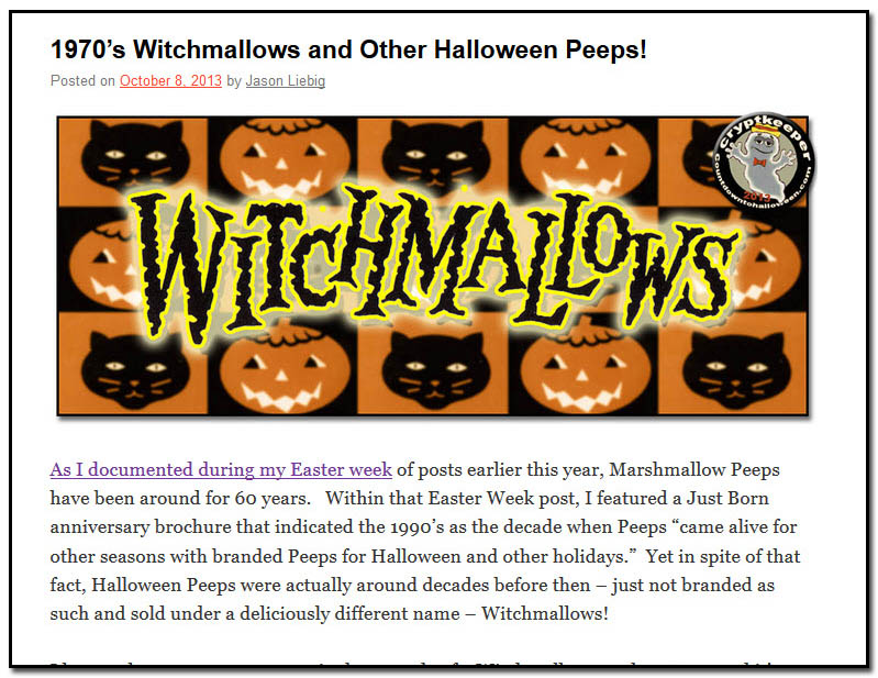 1970's Witchmallows and Other Halloween Peeps! - October 8th, 2013