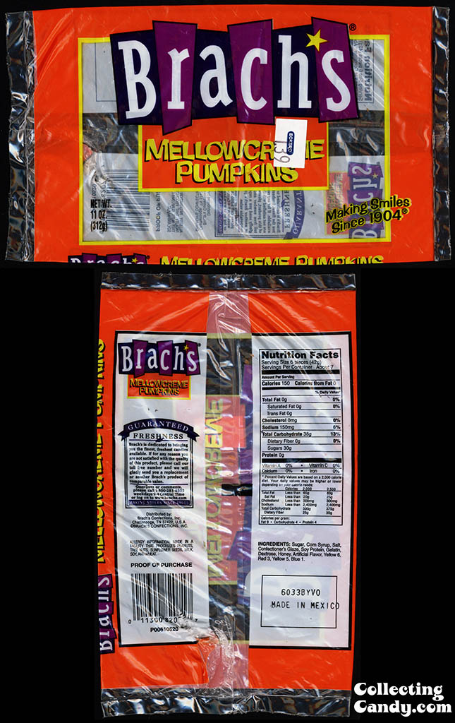 Brach's Confections - Mellowcreme Pumpkins - 11oz Halloween candy package - 2007