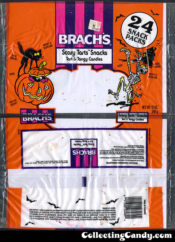 Brach's - Scary Tarts Snacks - 12oz Halloween candy bag - late 1980's - early 1990's