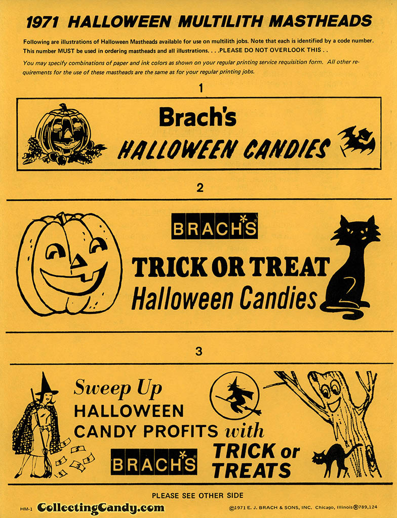 Brach's 1971 Halloween Salesman Packet - In-Store Banner artwork