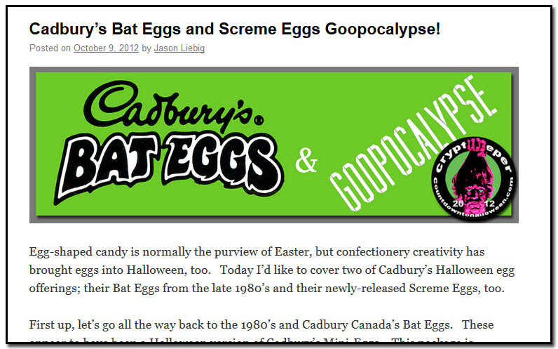 Cadburys Batt Eggs and Scream Eggs Goopocolypse - October 9th, 2012