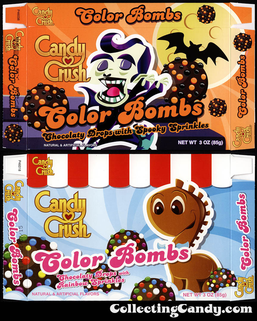 Candy Crush Color Bombs comparison - Halloween and regular - 2014