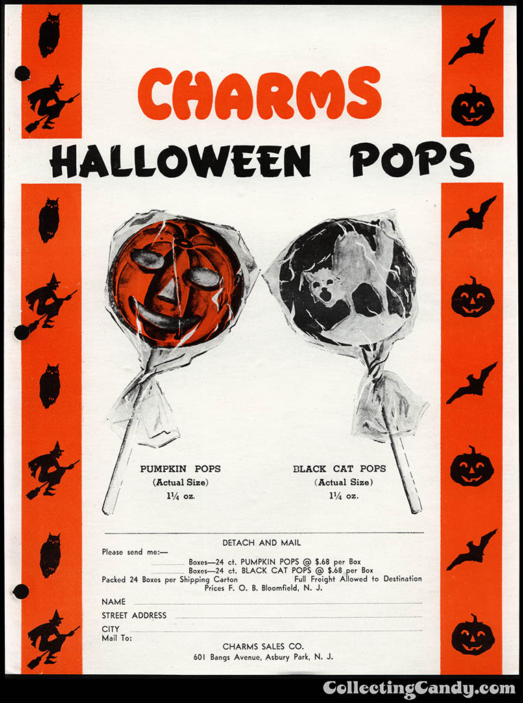 Charms - Halloween Pops - promotional sales Halloween salesman sheet - 1940's 1950's