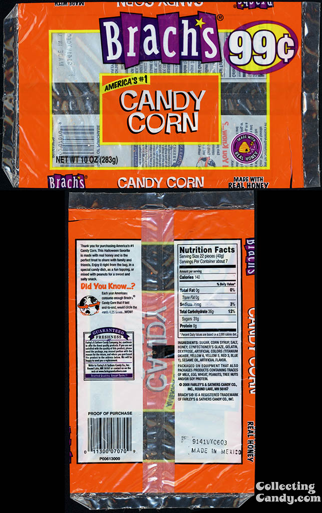 Farley's & Sathers Candy Co - Brach's Candy Corn - 99-Cent 10oz candy package - 2008-2009