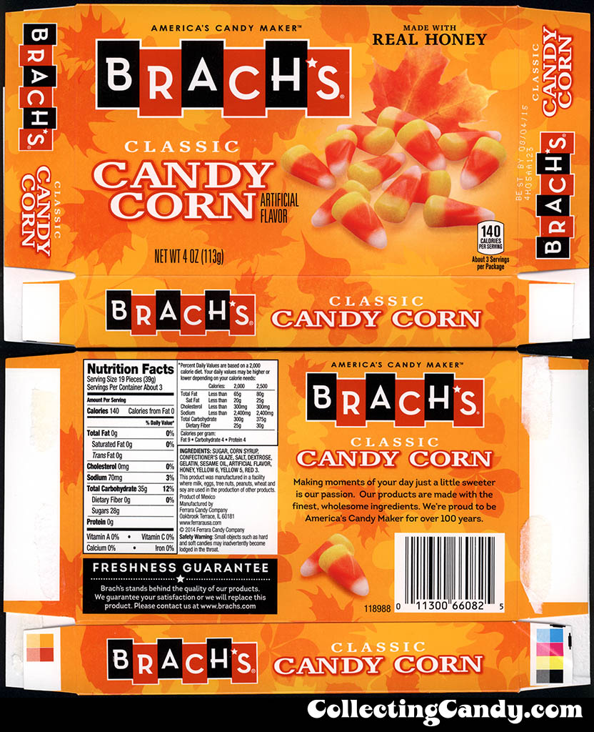 Ferrara Candy Co - Brach's - Classic Candy Corn - 4oz Halloween candy box - September 2014