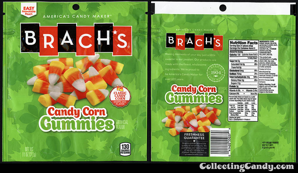 Ferrara Candy Company - Brach's - Candy Corn Gummies - classic candy corn shape and flavor - 11oz Halloween-Autumn candy package - September 2014