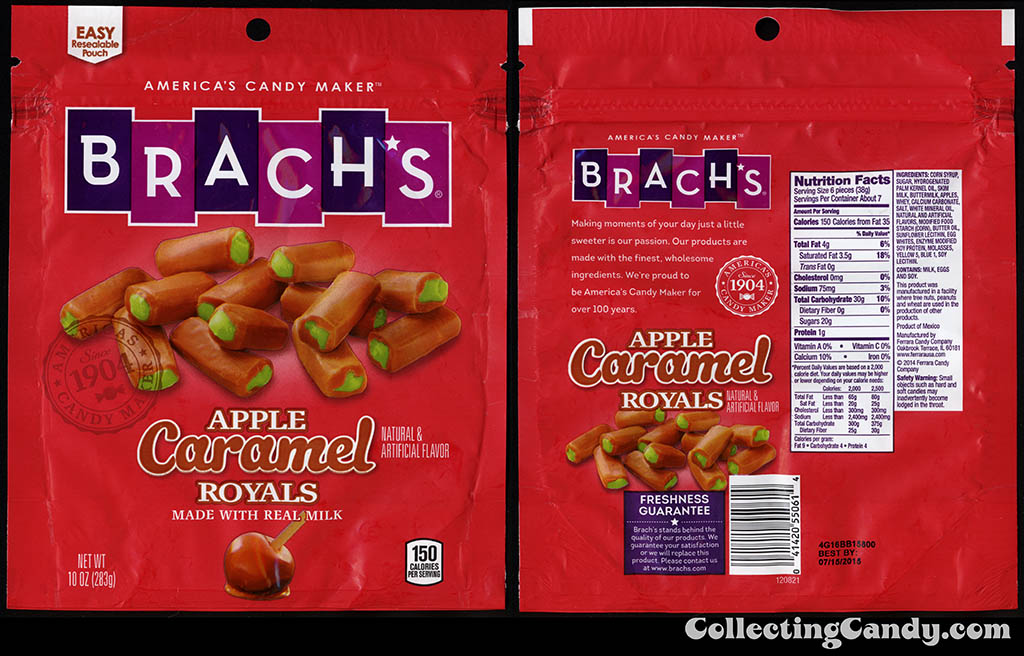 Ferrara Candy Company - Brach's - Caramel Apple Royals - 10oz Halloween-Autumn candy package - September 2014