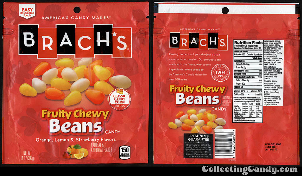 Ferrara Candy Company - Brach's - Fruity Chewy Beans - classic candy corn colors - 14oz Halloween-Autumn candy package - September 2014