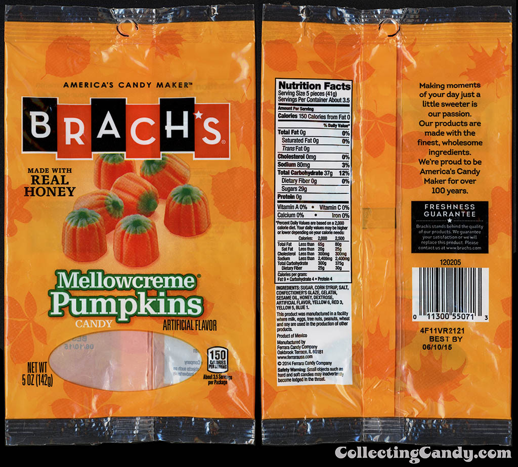 Ferrara Candy Company - Brach's - Mellowcreme Pumpkins - 5oz candy package - October 2014