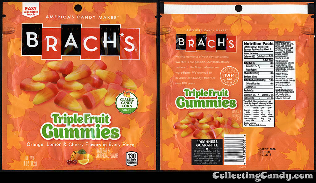 Ferrara Candy Company - Brach's - Triple Fruit Gummies - classic candy corn shape - 11oz Halloween-Autumn candy package - September 2014