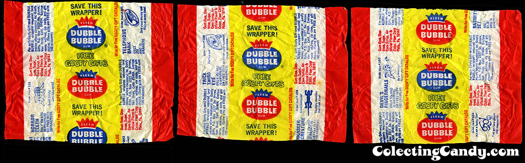 Fleer Dubble Bubble Goofy Gifts bubble gum wrappers - 1970's