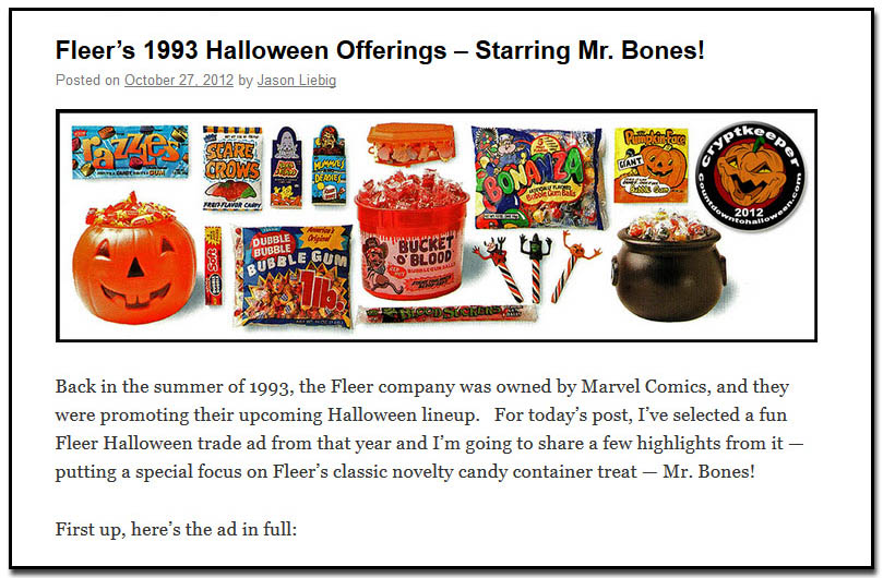 Fleer's 1993 Halloween Offerings – Starring Mr. Bones! - October 27th, 2012