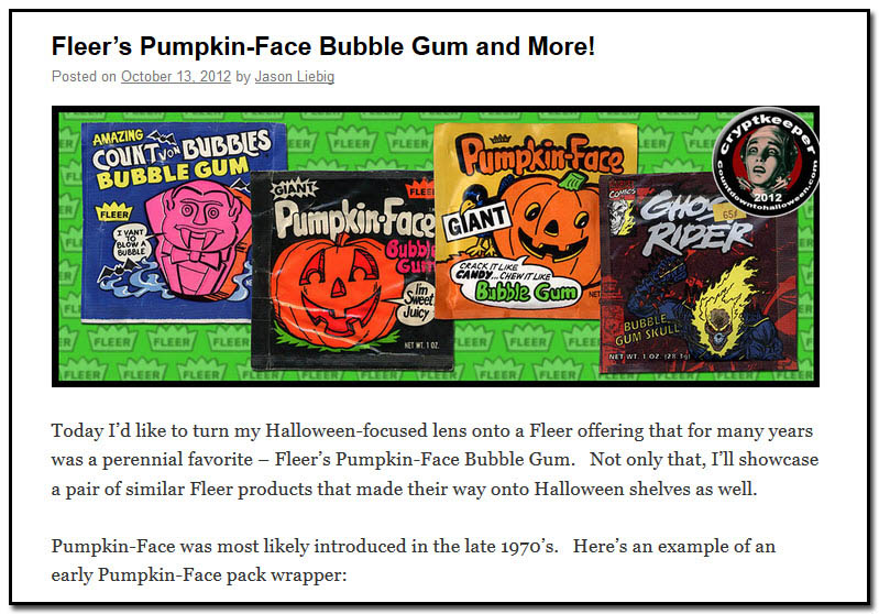 Fleer's Pumpkin-Face Bubble Gum and More! - October 13th, 2012