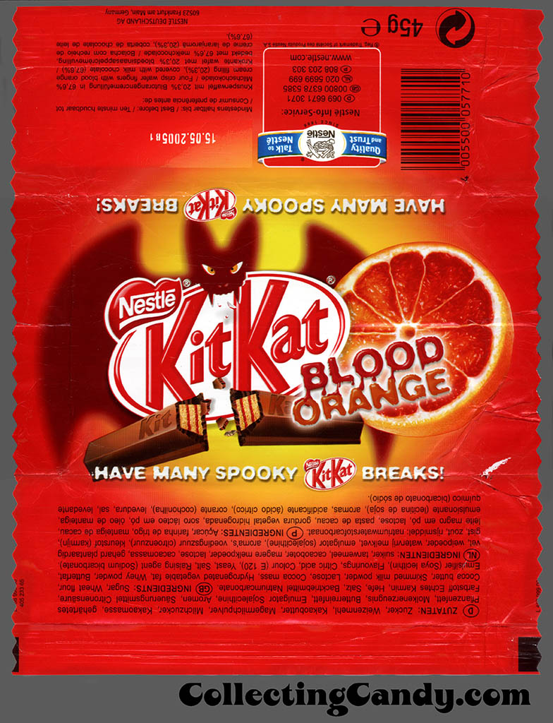 Germany - Nestle - Kit Kat Blood Orange - Halloween candy bar wrapper - 2004