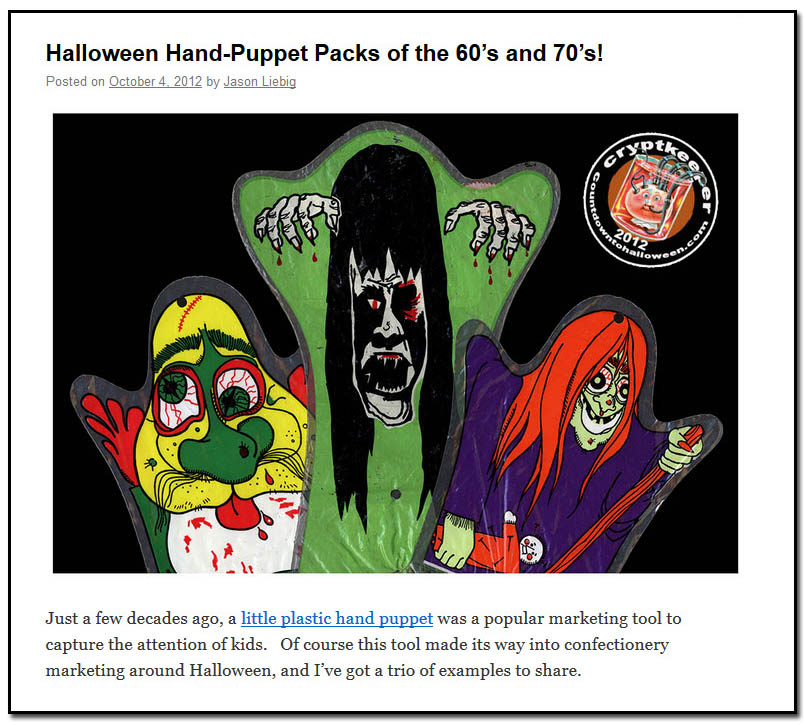 Halloween Hand-Puppet Packs of the 60's and 70's! - October 4th, 2012