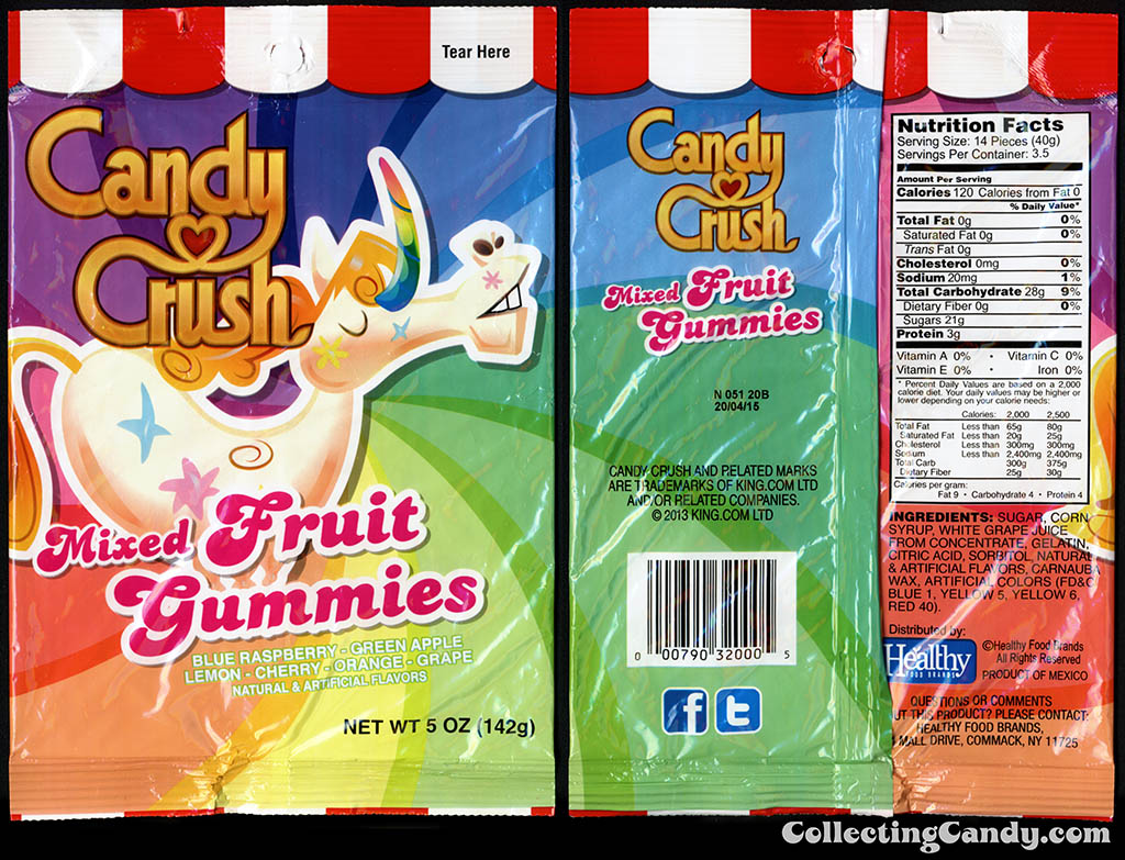 Healthy Food Brands - Candy Crush - Mixed Fruit Gummies - 5 oz candy package - 2014
