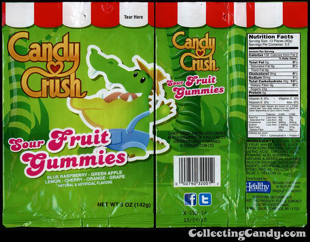 Healthy Food Brands - Candy Crush - Sour Fruit Gummies - 5 oz candy package - 2014