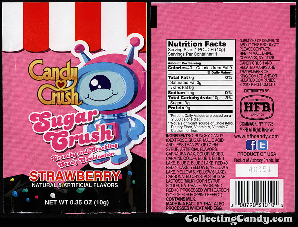 HFB Candy Company - Candy Crush - Sugar Crush -  .35oz strawberry popping candy package - 2014