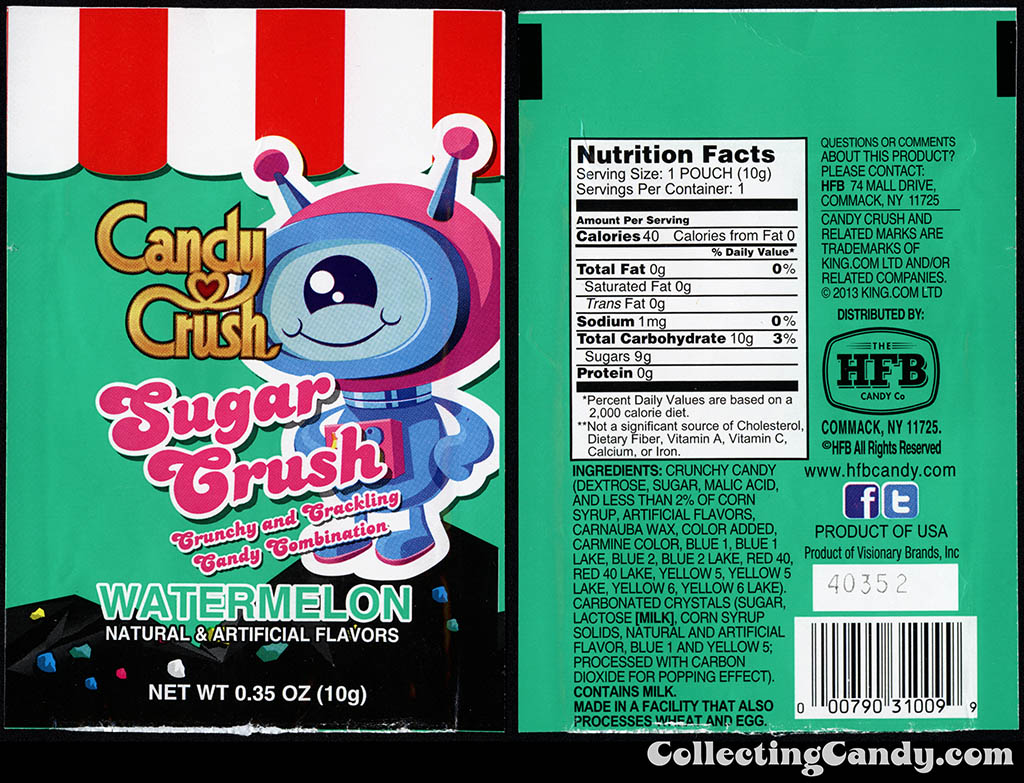 HFB Candy Company - Sugar Crush -  .35oz watermelon popping candy package - 2014