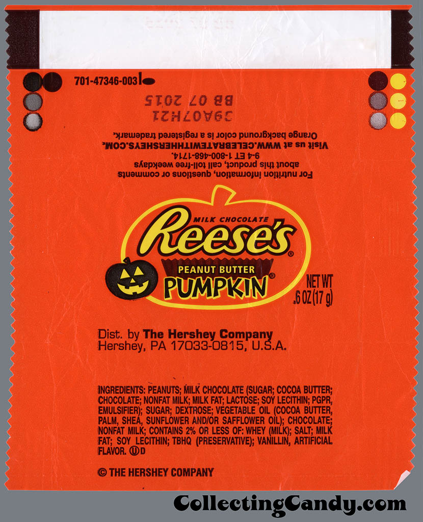 Hershey - Reese's Peanut Butter Pumpkin - .6 oz Snack Size Halloween chocolate candy wrapper - October 2014