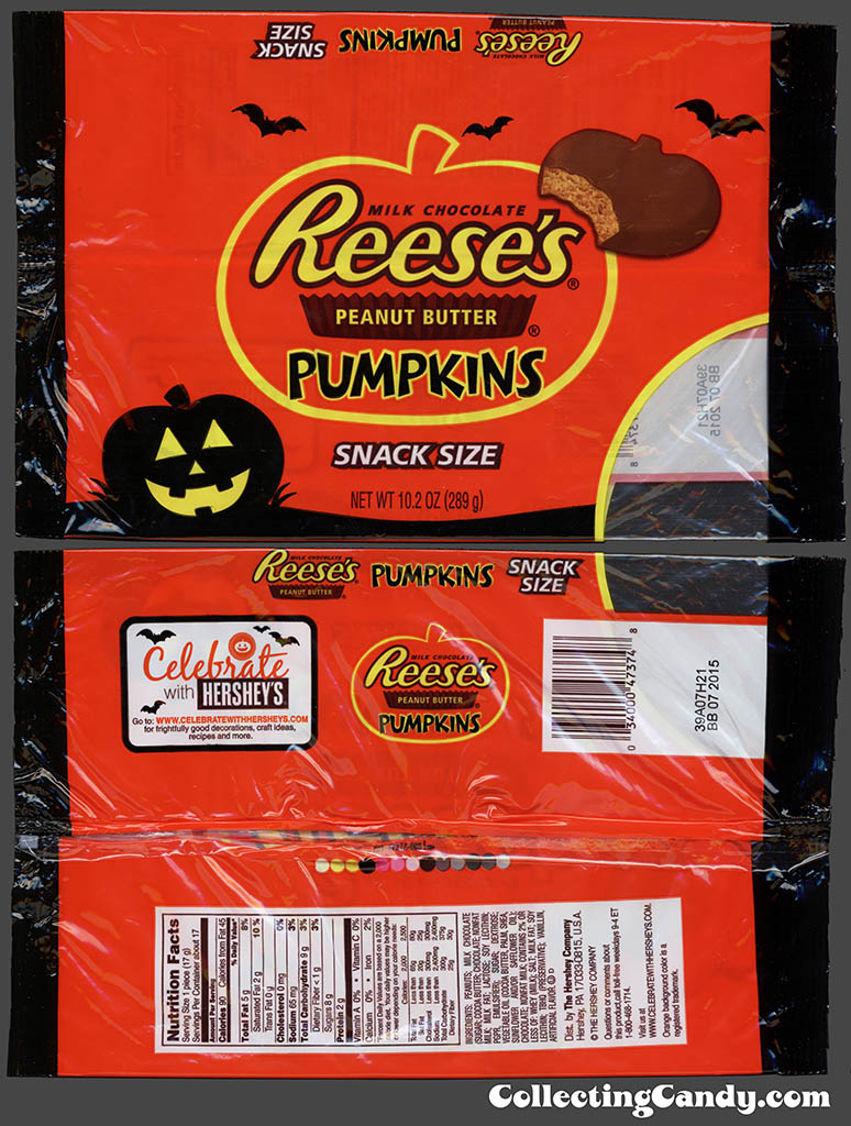 Hershey - Reese's Peanut Butter Pumpkins - Snack Size - 10.2 oz Halloween multi-bag candy package - October 2014