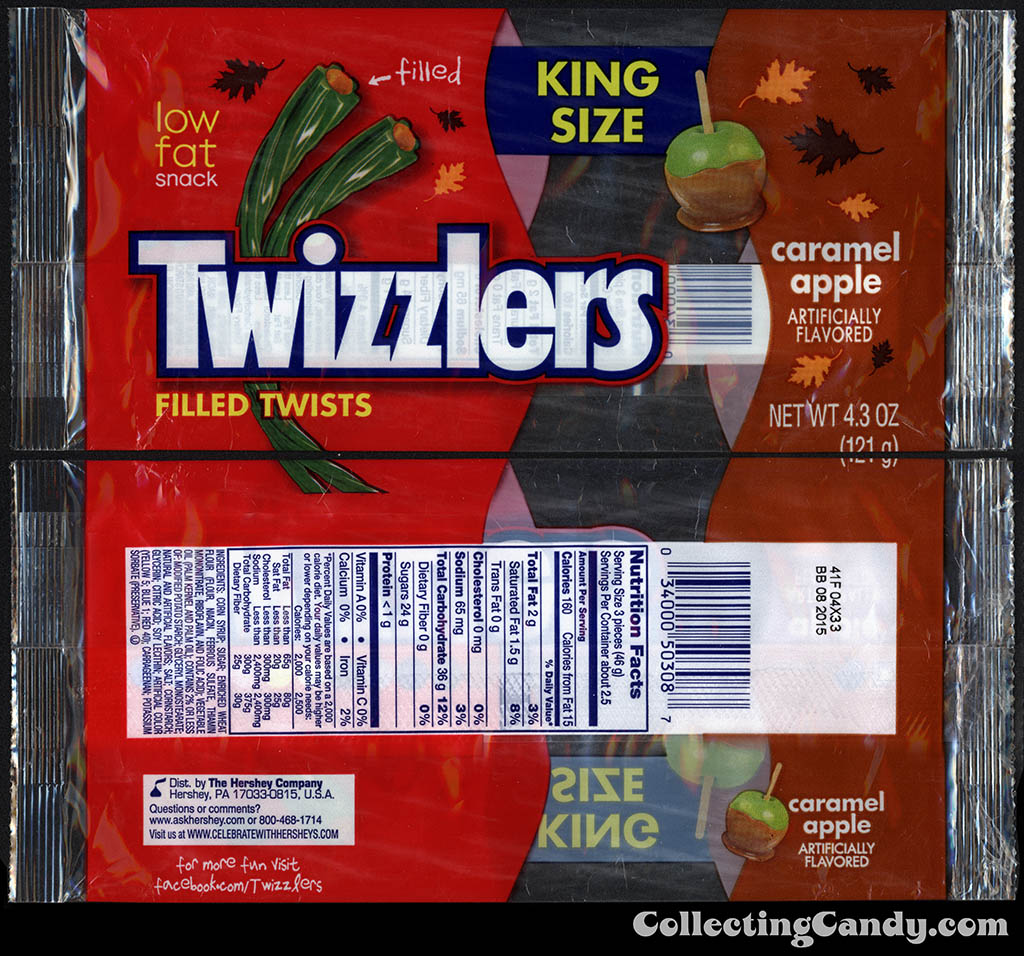 Hershey - Twizzlers - Caramel Apple Filled Twists - King Size - 4.3oz Halloween candy package wrapper - September 2014
