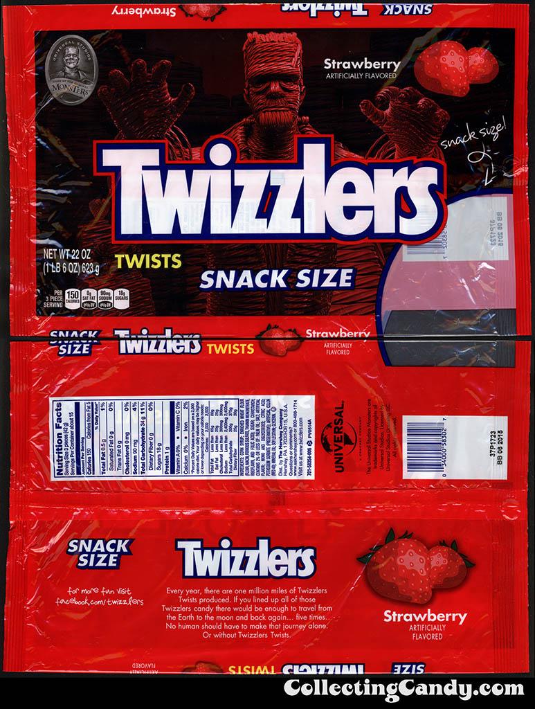 Hershey- Twizzlers Twists Strawberry - Halloween Frankenstein Universal Monsters - Snack-Size 22oz package - October 2014