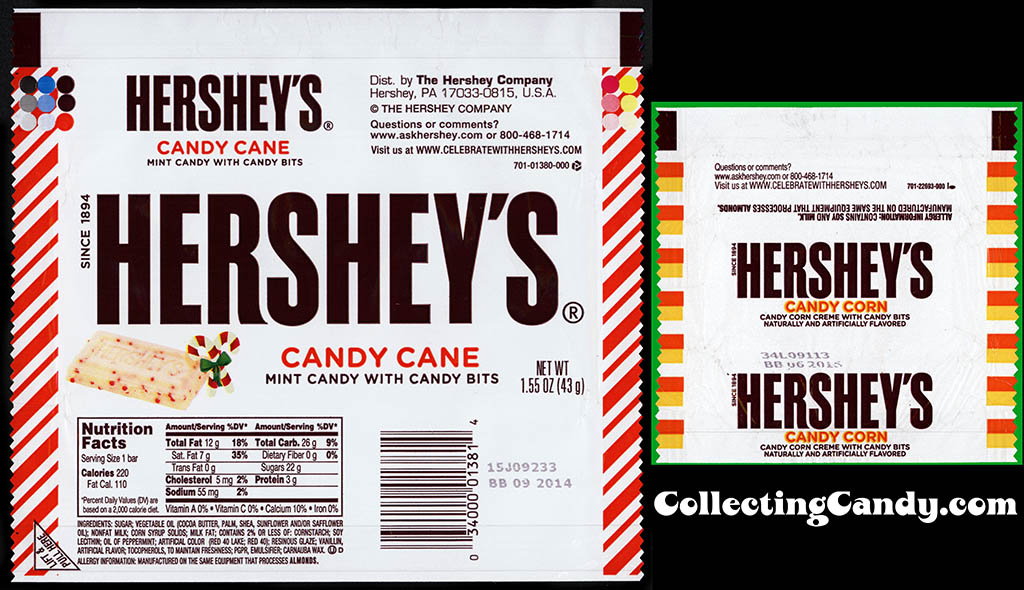 Hershey's Candy Cane & Candy Corn comparison shot