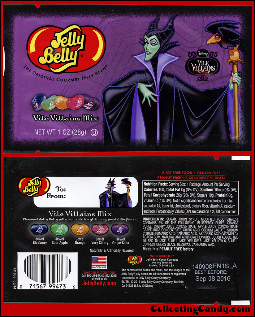 Jelly Belly - Disney Vile Villains - Maleficent- Vile Villain Mix - Halloween candy package - October 2014