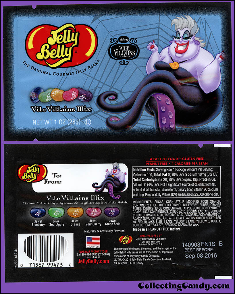 Jelly Belly - Disney Vile Villains - Ursula - Vile Villain Mix - Halloween candy package - October 2014