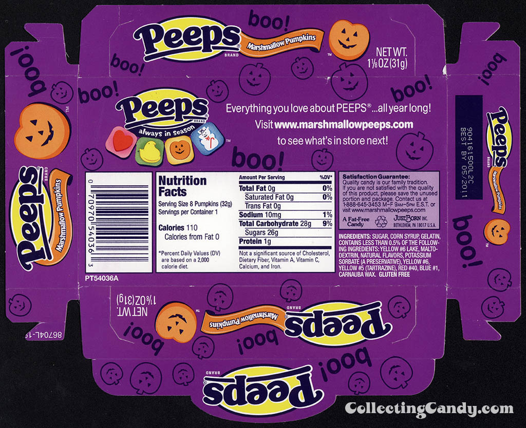 Just Born - Peeps Marshmallow Pumpkins - Halloween candy package tray - 2010
