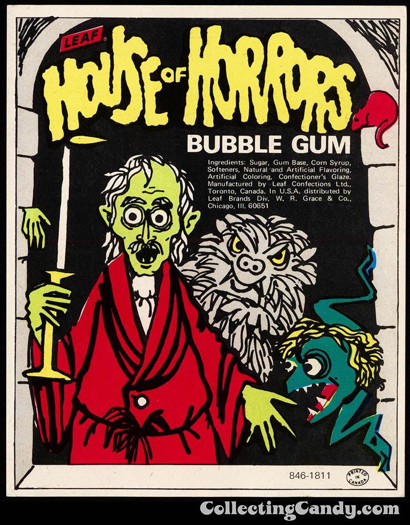 Leaf - House of Horrors - bubble gum vending insert card - 1960's 1970's