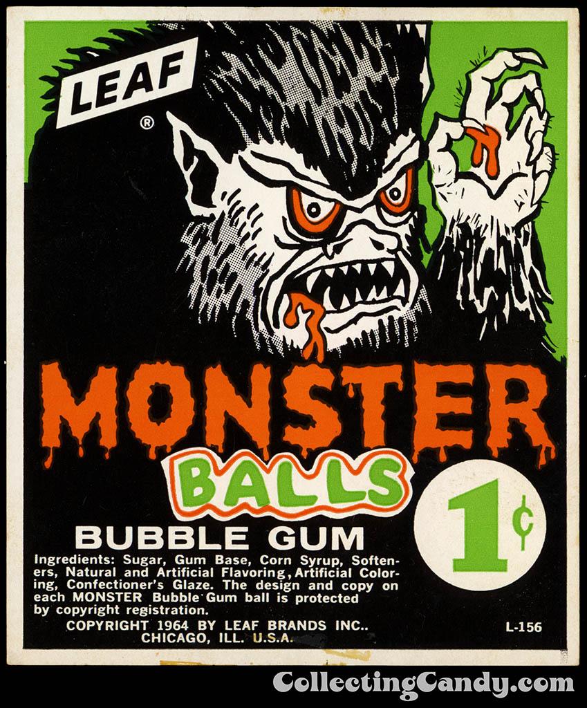 Leaf - Monster Balls - 1-cent bubble gum vending insert card - 1964
