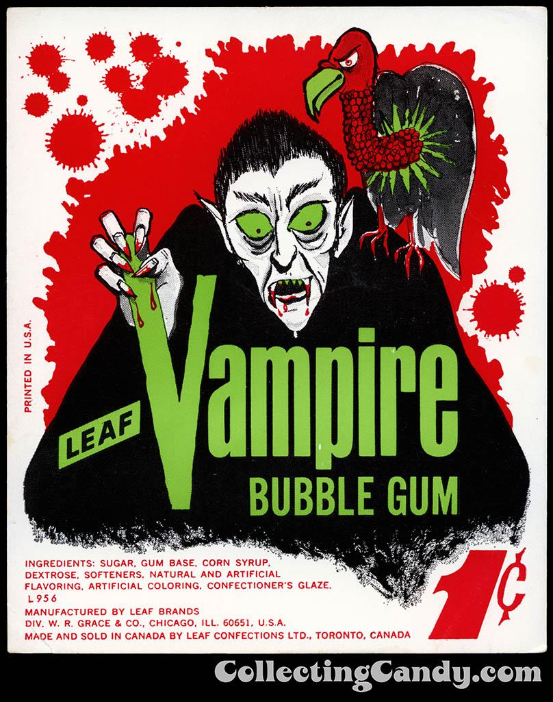 Leaf - Vampire - 1-cent bubble gum vending insert card - 1960's 1970's