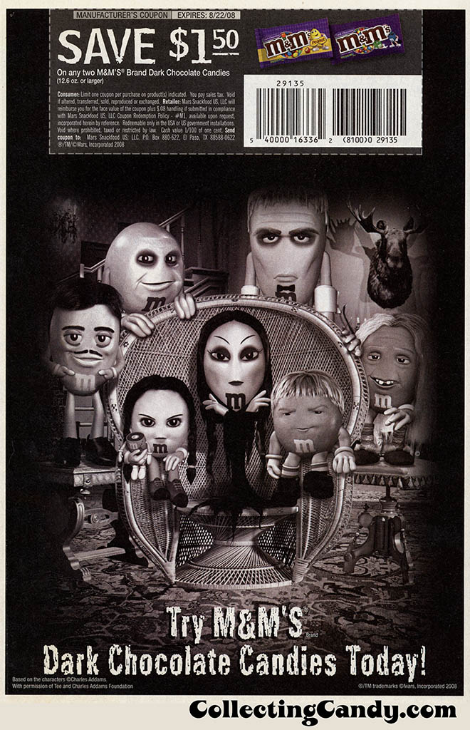 Mars - M&M's Dark Chocolate Candies Sales Circular Coupon-Advertisement - The Addams Family - 2008