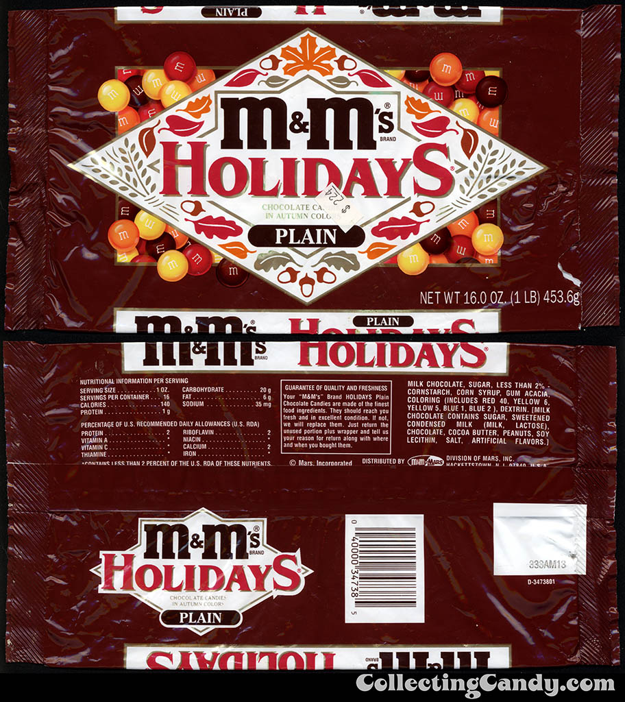 Mars - M&M's Holiday Plain chocolate candies in autumn colors - 16oz candy package - late 80's early 90's