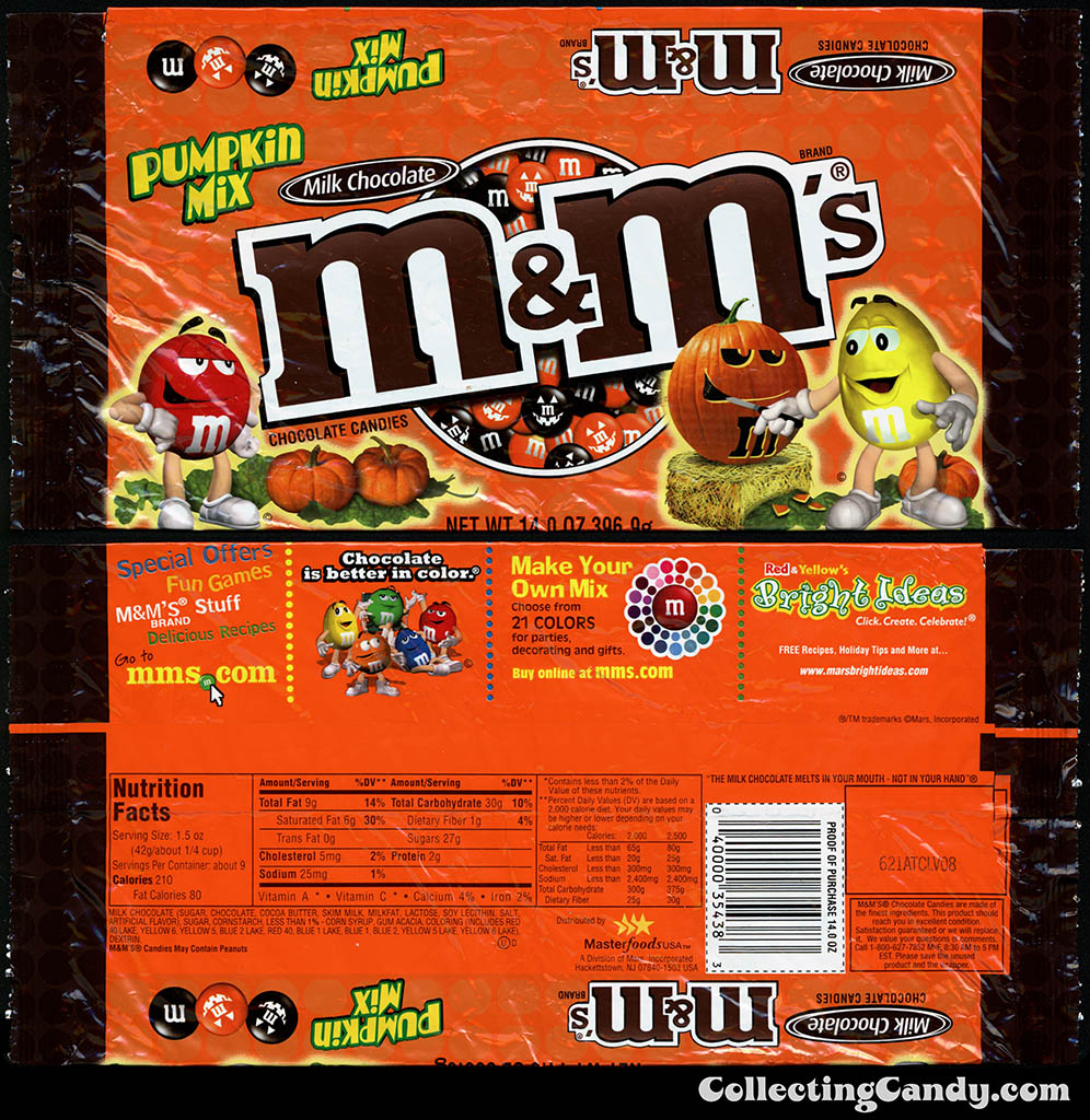 Mars - M&M's Milk Chocolate - Pumpkin Mix - 14oz Halloween candy pacakge - mid-2000's