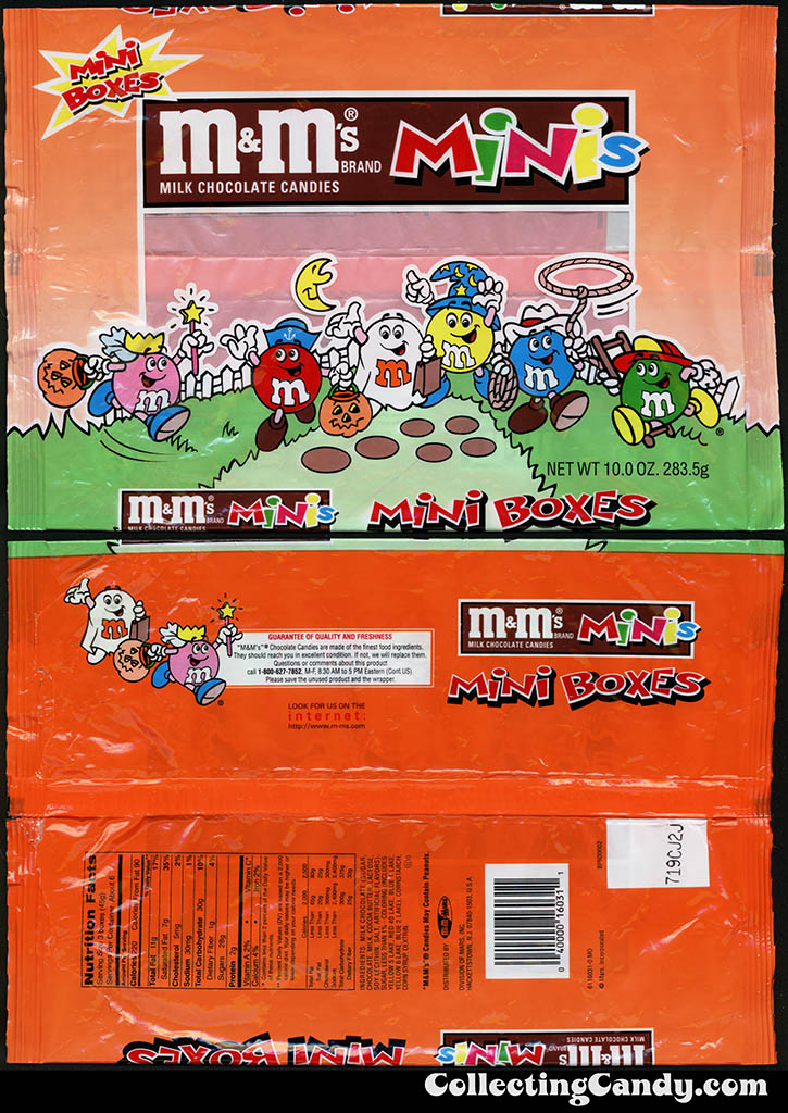 Mars - M&M's Minis - 10 oz mini-boxes Halloween multi-bag package - 1990's