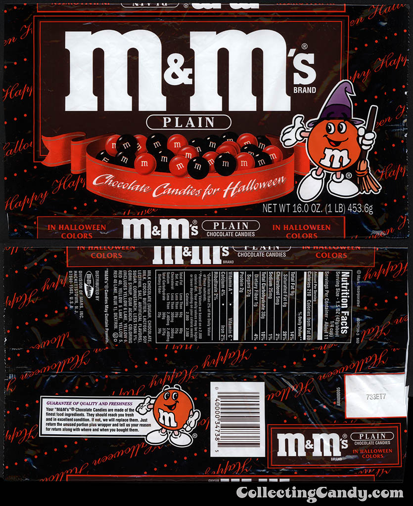 Mars - M&M's Plain - 16oz Halloween candy package - circa mid-1990's